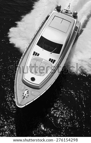 ITALY, Lazio, Tyrrhenian sea, off the coast of Fiumicino/Rome, aerial view of luxury yacht  - stock photo