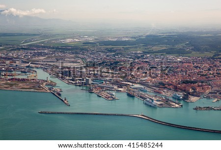 Italy. Livorno. View of the city and a seaport with bird's-eye view