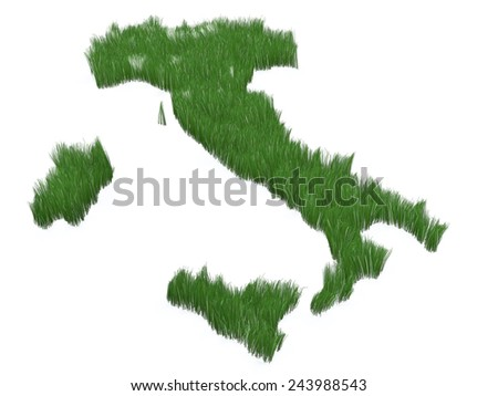 Italy made with grass, 3d illustration