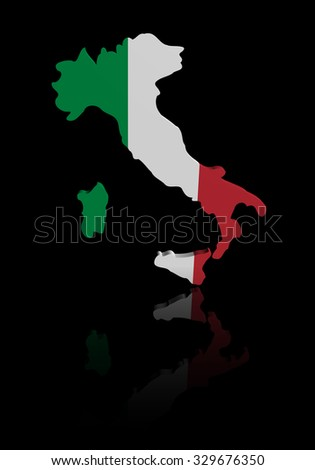Italy map flag with reflection illustration - stock photo