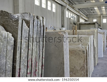 Italy, marble cutting factory - industrial - stock photo