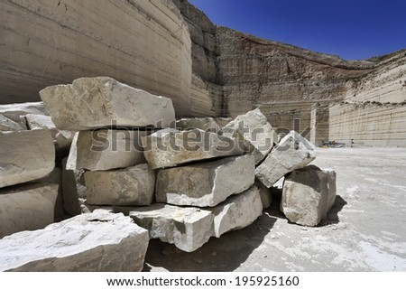 Italy, marble cutting factory, stone-pit - industrial - stock photo