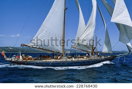 Italy, Mediterranean Sea, Sardinia, Emerald Coast, old sailing boat in a race - FILM SCAN - stock photo