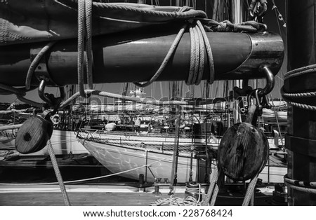 Italy, Mediterranean Sea, Sardinia, Emerald Coast, Porto Cervo, old sailing boats in the port - FILM SCAN - stock photo