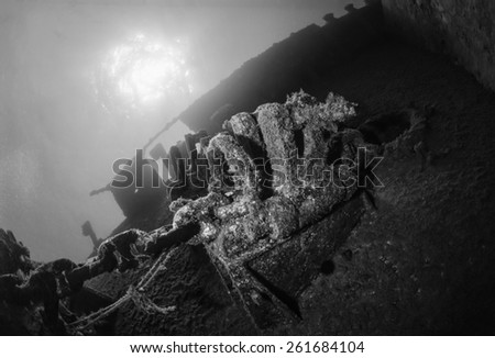 Italy, Mediterranean Sea, sunken ship wreck - FILM SCAN