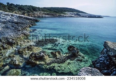 Italy, Molise, Tremiti Islands, San Domino Isle, a cave in the rocky coast of the island - FILM SCAN - stock photo