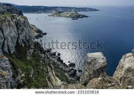 Italy, Molise, Tremiti Islands, San Domino Isle, view of the rocky coast of the island - FILM SCAN - stock photo