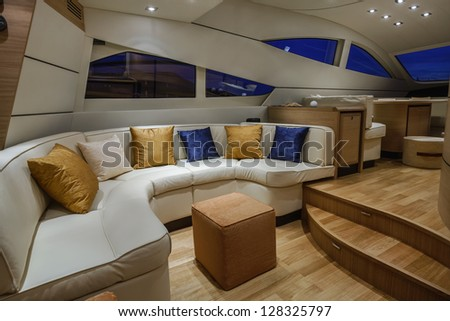 Italy, Naples, Abacus 52 luxury yacht, dinette
