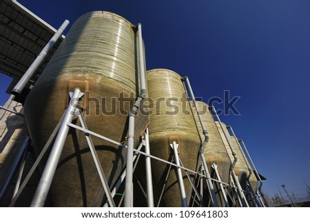 Italy, Naples, industrial silos in a leather factory