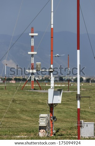 Italy, Naples International Airport, flight control sensors - stock photo