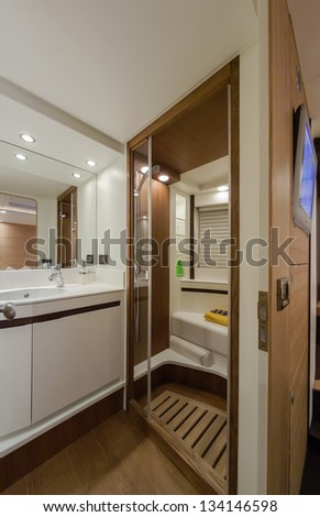 Italy, Naples, RIZZARDI 63HT luxury yacht, master bathroom