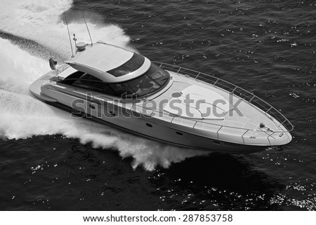 Italy, off the coast of Naples, luxury yacht, aerial view - stock photo