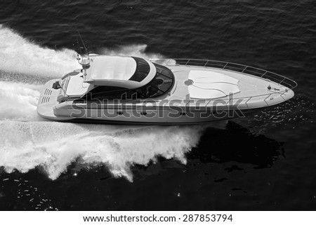 Italy, off the coast of Naples, luxury yacht, aerial view