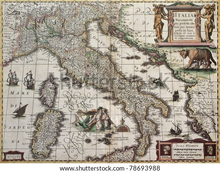 Italy old map. Created by Henricus Hondius, published in Amsterdam, 1631 - stock photo