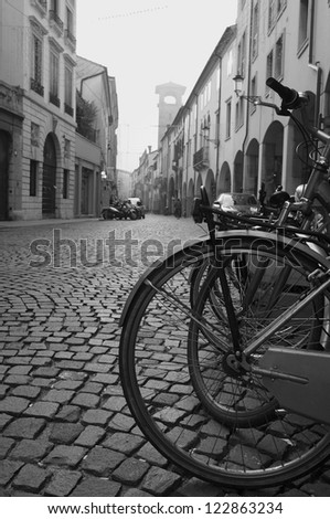 Italy, Padua: Urban road paved with cobblestone
