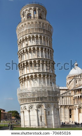 Italy, Pisa. Leaning Tower in the Campo dei Miracoli ensemble - stock photo