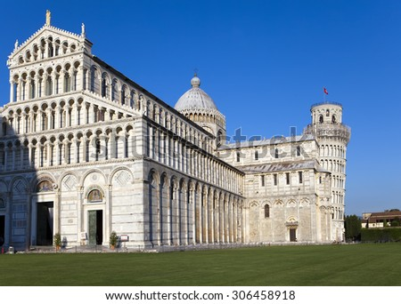 Italy, Pisa. The Cathedral and the Leaning Tower in Cathedral Square
