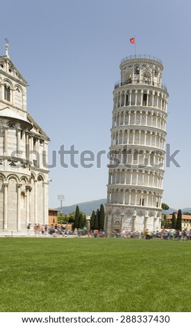 Italy, Pisa. The famous Leaning Tower and the Church