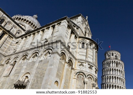 Italy - Pisa. The famous leaning tower on a perfect blue background
