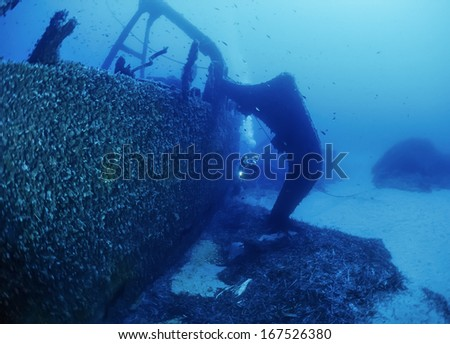 Italy, Ponza Island, Tyrrhenian sea, U.W. photo, wreck diving, sunken ship   - stock photo