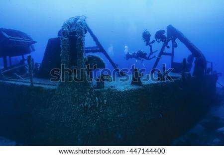 Italy, Ponza Island, Tyrrhenian sea, U.W. photo, wreck diving, sunken ship (FILM SCAN) - stock photo