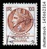 Italy postage stamp Turrita serie. 100 Lire  - stock photo