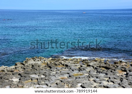 Italy, Puglia region, Egnazia. Archaeological area .Sea in front of the ruins.