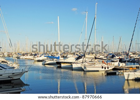 Italy, Ravenna marina boats in the harbor