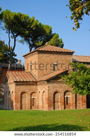 Italy Ravenna world famous Galla Placidia mausoleum in Saint Vitale Basilica. - stock photo