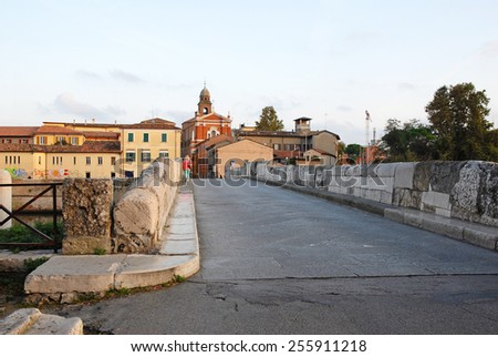 Italy, Rimini, the world famous Tiberio Roman bridge. - stock photo