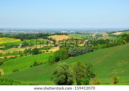 Italy, Romagna Apennines hills view from Bertinoro village, with Padana plain and Adriatic Sea in the bottom - stock photo