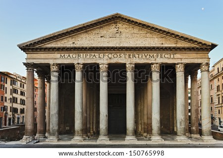 Italy Rome Capital City Ancient Pantheon Of Gods Temple Famous Roman Classic Facade Current Christian Church