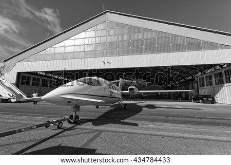 Italy, Rome, Ciampino Airport; 26 July 2010, small executive jet pulled outside the hangar - EDITORIAL