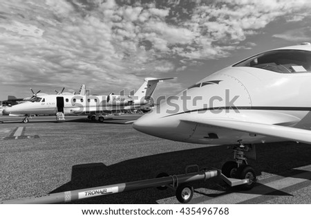 Italy, Rome, Ciampino Airport; 26 July 2010, small executive jets on the runway - EDITORIAL