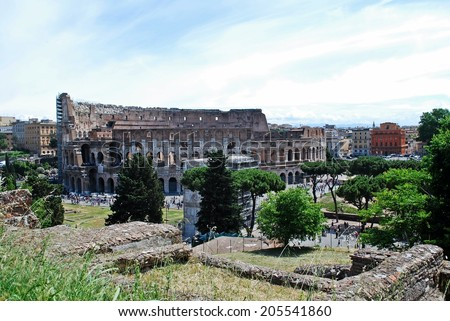 Italy. Rome. Colosseum was built in the first century AD by the Emperor Vespasian. - stock photo