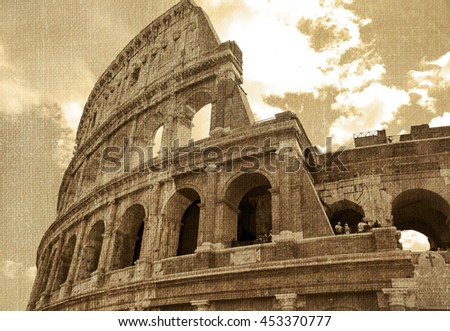 Italy. Rome. Famous monument of ancient architecture -  Colosseum Amphitheater.