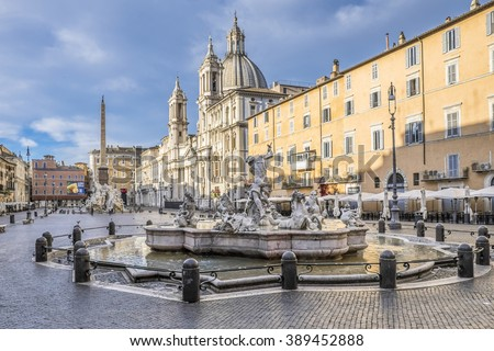 Italy, Rome, 04 May 2014, Piazza Navona at 6 o'clock empty in the morning
