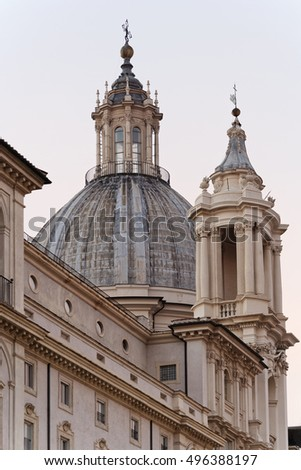 Italy, Rome, Navona Square, the belltower and the facade of S. Agnese in Agone Church (1652 a.C.)
