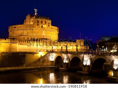 Italy. Rome. Night. Castel Sant' Angelo  - stock photo
