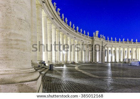 Italy, Rome, Piazza San Pietro - It was 17/10/2013 in Rome and this is a shot session taked in the night with long time exposure. - stock photo