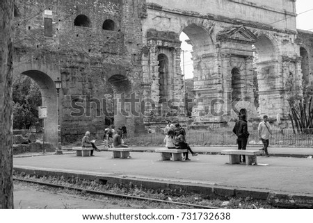 Italy, Rome, Porta Maggiore - 08 May 2016 - people waiting tram and move near rails