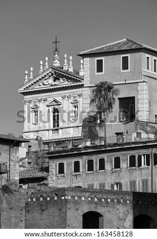 Italy, Rome, Roman church facade and old buildings  - stock photo