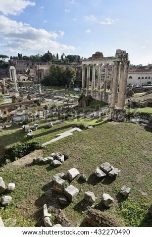 Italy, Rome, Roman Forum, people visiting the Roman ruins - stock photo