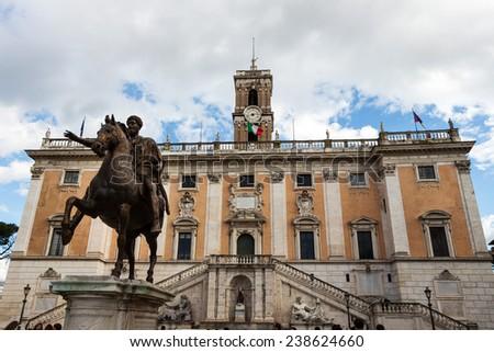 italy, rome. rome. piazza del campidoglio. marcus aurelius statue - stock photo