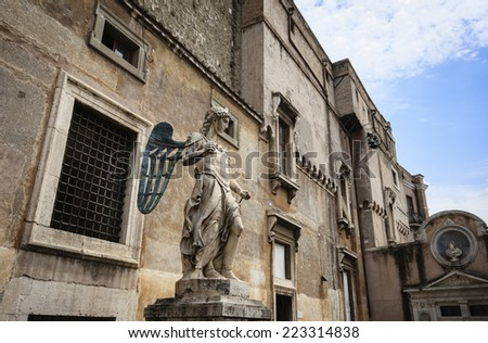 Italy, Rome, St. Angel Castel, statue - stock photo
