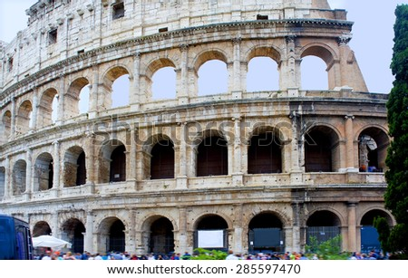 Italy, Rome. The Colosseum. The facade of the preserved part of the ancient stadium