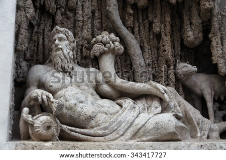 "Italy. Rome. ""Tiber River"" is one of the 4 fountains sculpture of group ""four fountains"""