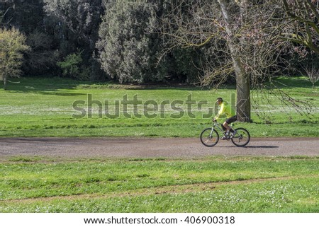 Italy, Rome, Villa Dora Pamphili - 06 March 2016: This huge park of Rome is one of the best places for cyclists where they can walk in the middle of nature and escape from the city