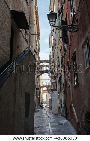 Italy. Sanremo. La Pigna. The streets of the old town