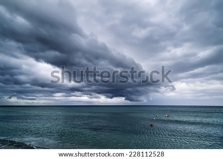 Italy, Sardinia, Mediterranean Sea, Arzachena Gulf (Maddalena), view of the sea in a stormy day - FILM SCAN - stock photo